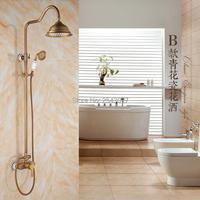 8 Ванная комната осадков набор для душа античная латунь настенные смесители + Керамика ручной душ zr16
