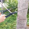 Emergência doméstica jardinagem mão motosserra com saco de náilon sobrevivência ao ar livre bolso corrente serra mão 63cm acampamento caminhadas
