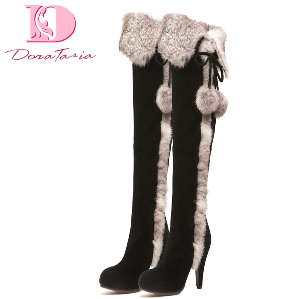 DoraTasia 2018 brand new best quality real fur cow suede leather winter shoes boots woman high heels party women's shoes boots