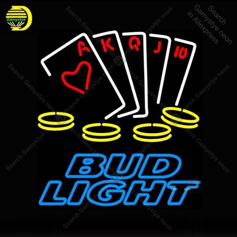 Bud Light Neon Poker Ace Neon sign Real Glass Tube Bulbs Light Bar Beer Club Custom Game signs Store Decoration Handmade Lamp