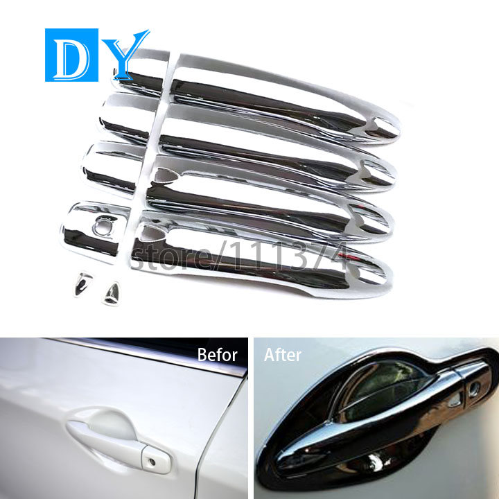 Nulla Chrome Polished Surface Accessories Protector Car Door Handle Cover Kit Frame Trim For