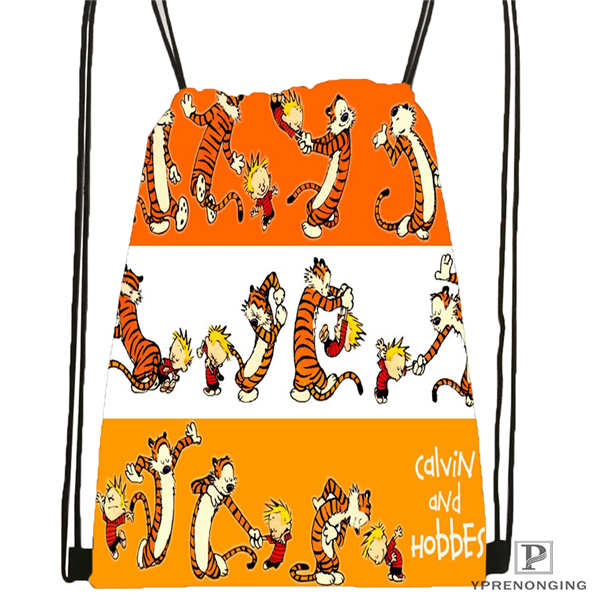 Custom Calvin-and-hobbes-12 @02-Drawstring Backpack Bag Cute Daypack Kids Satchel (Black Back) 31x40cm#180611-03-120