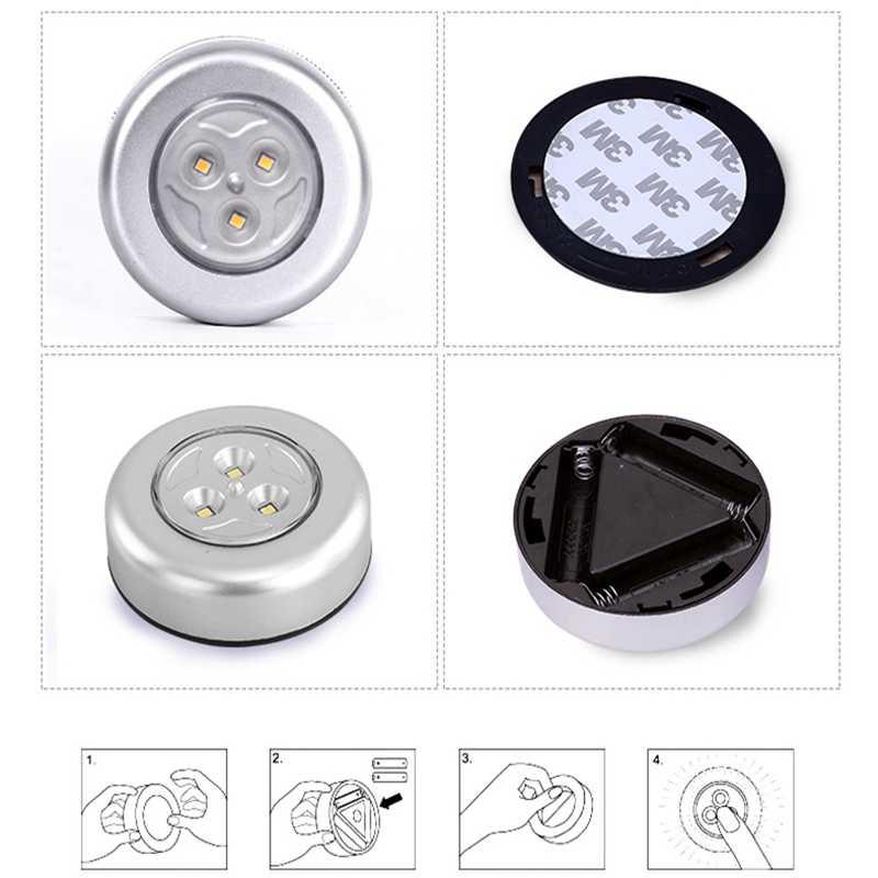1 шт. 3 светодиодный мини-сенсорный фары ночные огни беспроводной накопитель-на шкаф огни Открытый автомобильный светильник подвесные Настенные светильники кухонный шкаф
