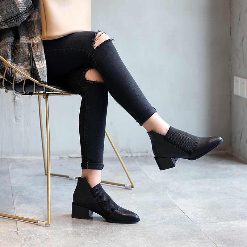 Donna-Kalın Med topuklu Hakiki Deri Kadın Çizmeler Sivri Burun Elastik Sonbahar Kış Ayakkabı Peluş Kahverengi Siyah yarım çizmeler