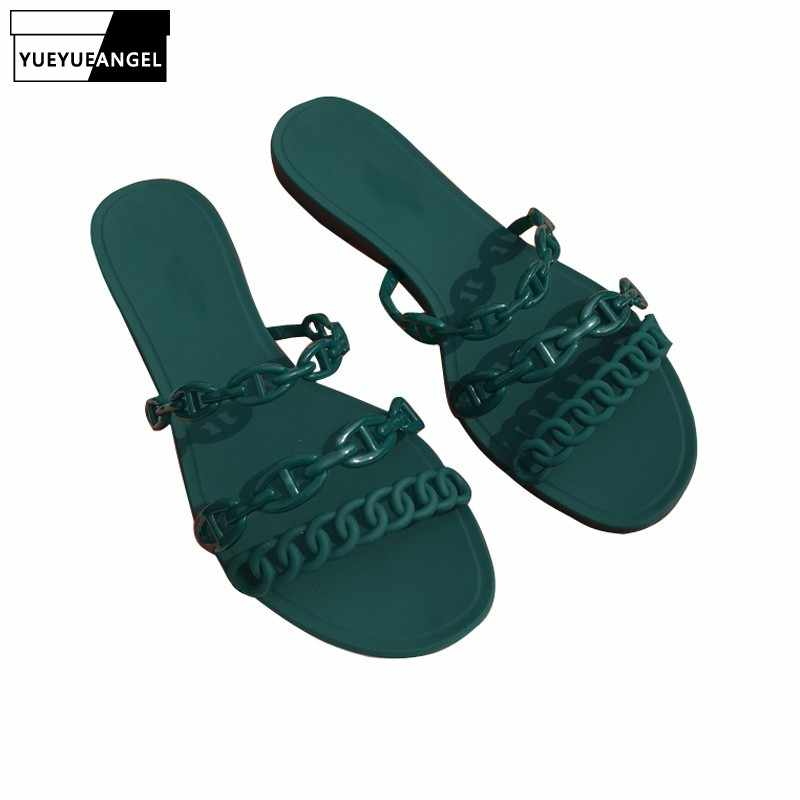 2019 New Arrival Summer Beach Sandals Women Jelly Shoes Chains Casual Outside Shoes Luxury Brand Designer PVC Flats Slippers