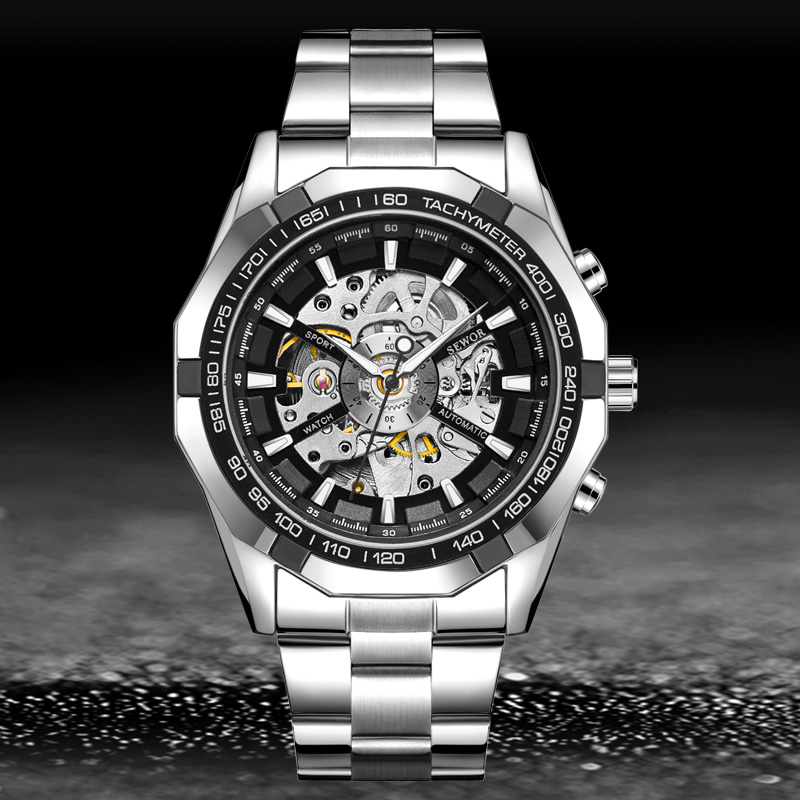 SEWOR 2019 Mens Watches Top Brand Luxury Hollowed Skeleton Automatic Self Wind Stainless Steel Sport Watch Men Wrist Watches in Mechanical Watches from Watches