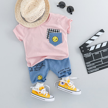 Fashion Baby Set For Girl Clothes Short Sleeve T-shirt & Jeans Shorts 2pcs Suit Summer Cotton Casual Newborn Boy Outfit