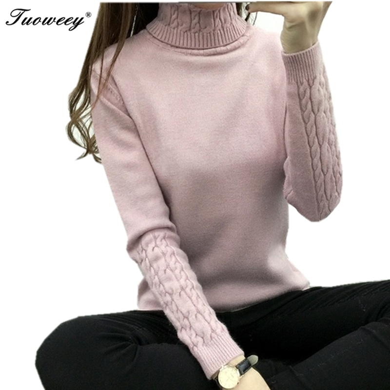 2017 new fashion Women white Twist thick slim long sleeve pullover sweater Lapel turtleneck sweater female basic knitted shirt