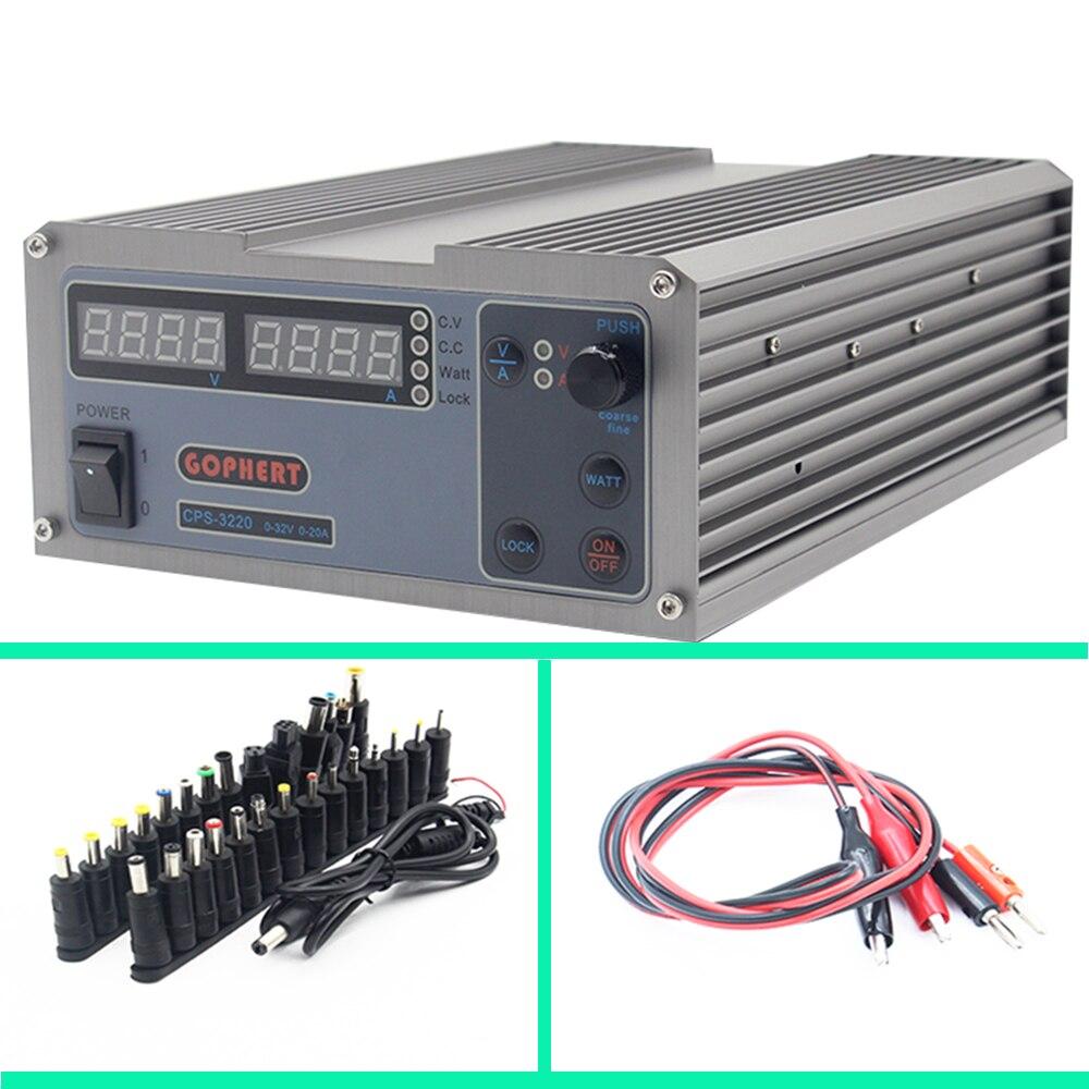 Mini cps-3220 DC Alimentation + 37 pcs DC tête Banane clip fil EU UK US adaptateur OVP/OCP /OTP faible puissance 110 v-230 v 0-32 v 0-20A