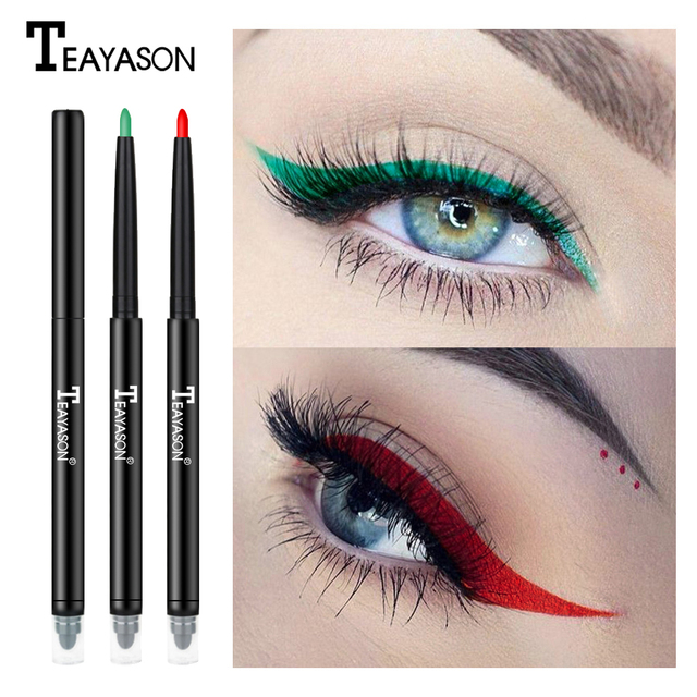 Teayason dual ended eyeliner pencil with sponge 12 color gold glitter eye liner waterproof long lasting matte eyeliner gel AM068