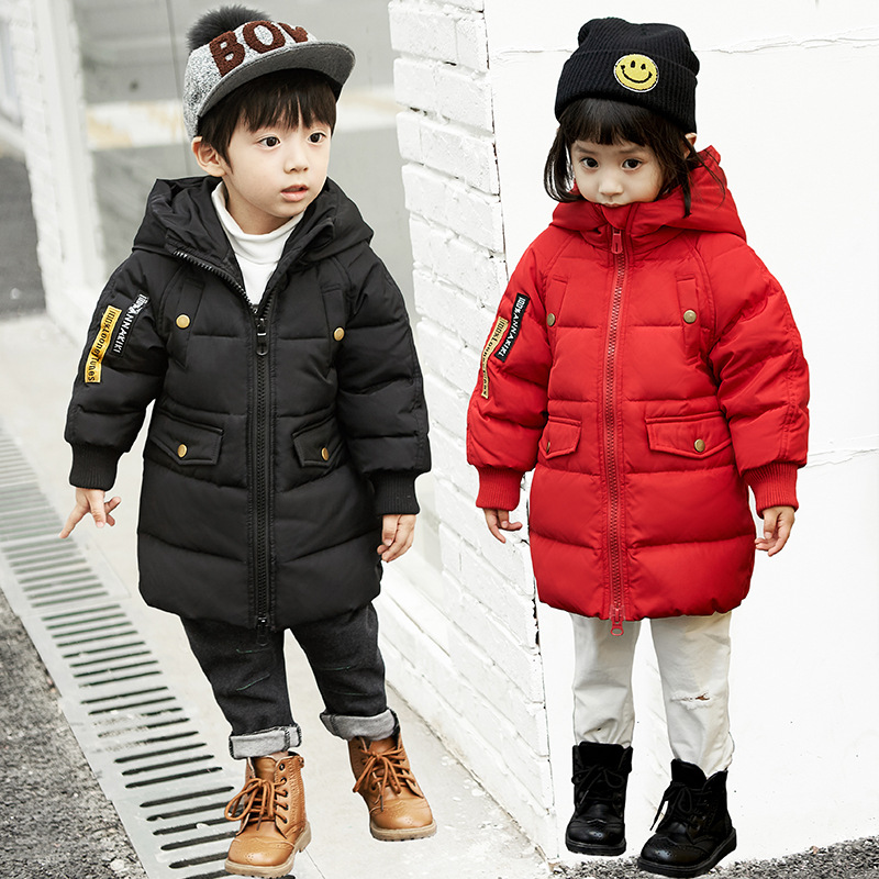 Baby boy and girl 2017 new Korean thick down jacket winter for size 1 2 3 4 years child long coat kid tide casual outerwear [free shipping] 2015 new arrival fashion female 1 4 years child love baby cashmere long sleeved jacket trousers leisure suit