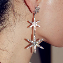 Perfect Quality Shiny Rhinstone Snowflake Charm Dangle Earrings For Women Fashion Jewelry Trendy Statement Accessories