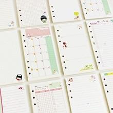 45 листов, каваи А5, А6, бумага для заправки, блокнот, спиральная папка, индекс, внутренние страницы, ежемесячный недельный ежедневник