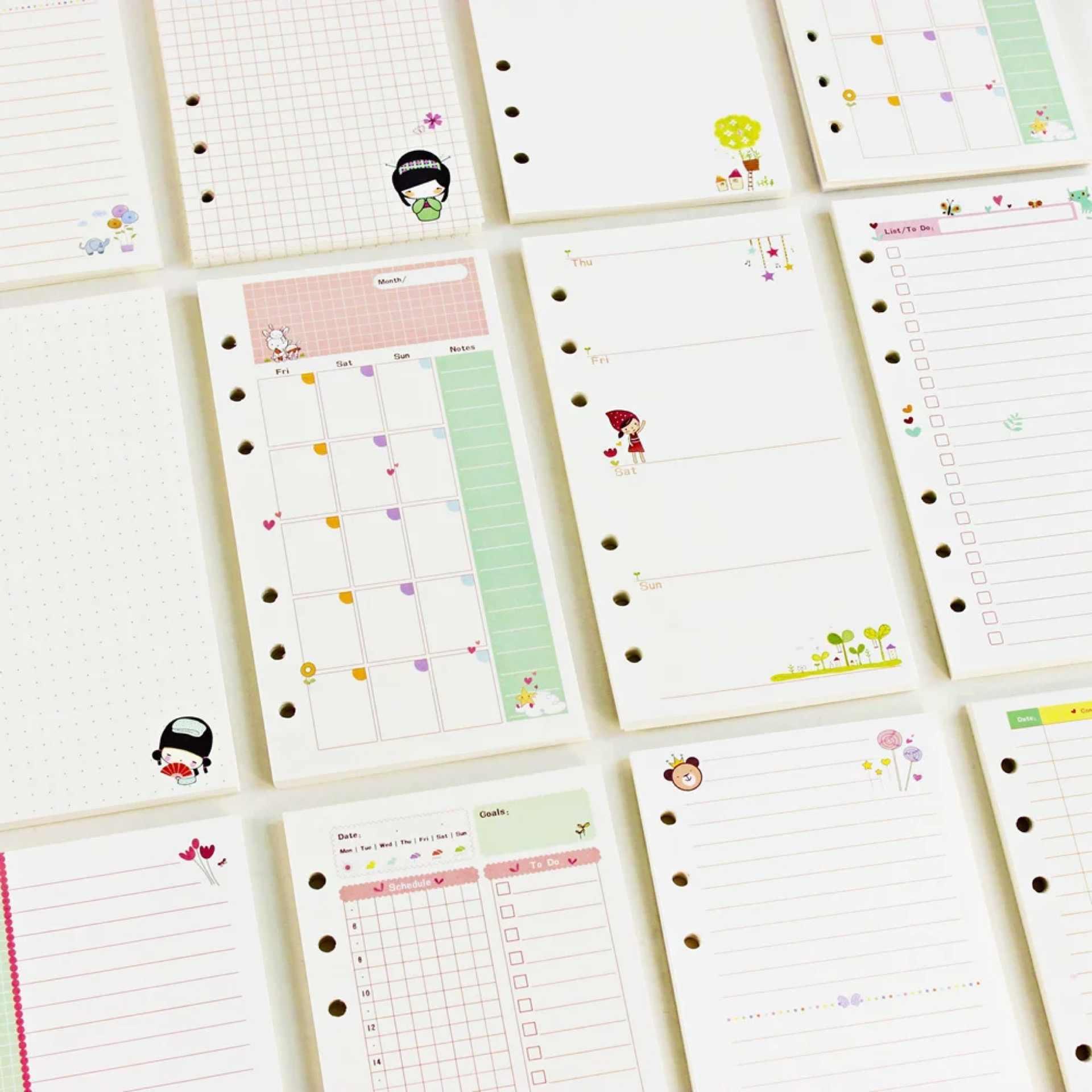 harphia A5/A6/Notebook Refills Innen Papier Colorful Loose Leaf Spirale Notebook Refill Innen Seite T/äglich W/öchentlich Monatlich zu tun Cornell Finanzen A5 Weekly plan.