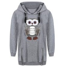 Girls Hoodies Embroidery Cute Owl Coat Pullover for Girls Teen Big Kids Children's Clothing Girl for Spring Autumn 100% Cotton(China)