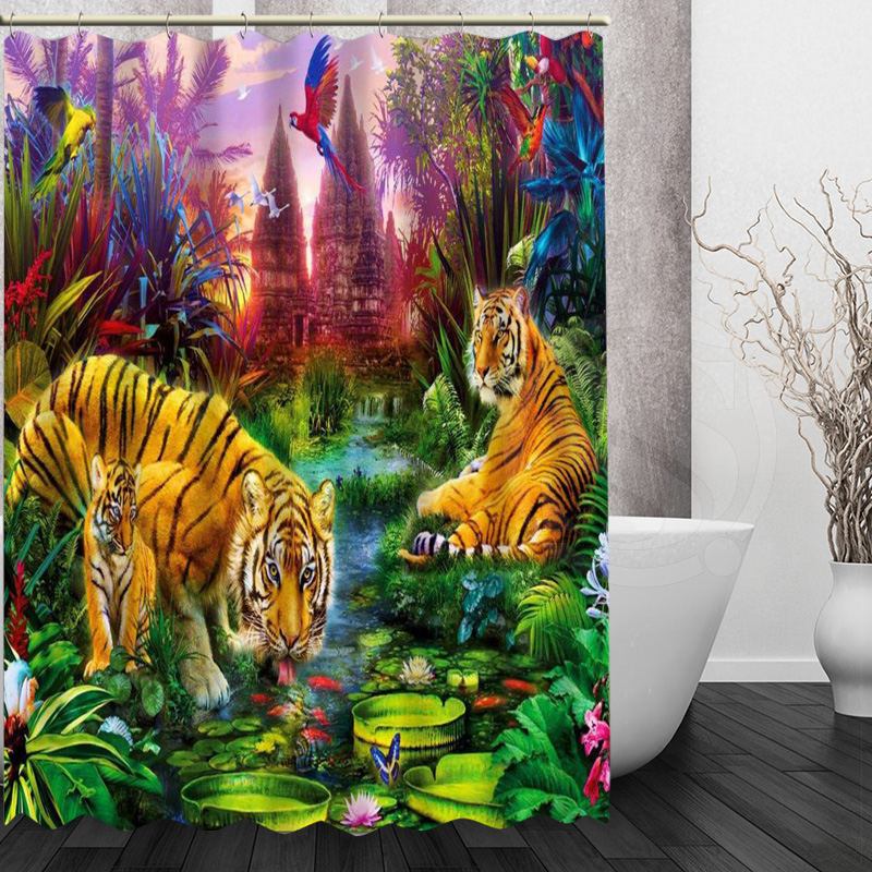 tiger Shower Curtain Personalized Custom Bath curtain Waterproof polyester curtain for family