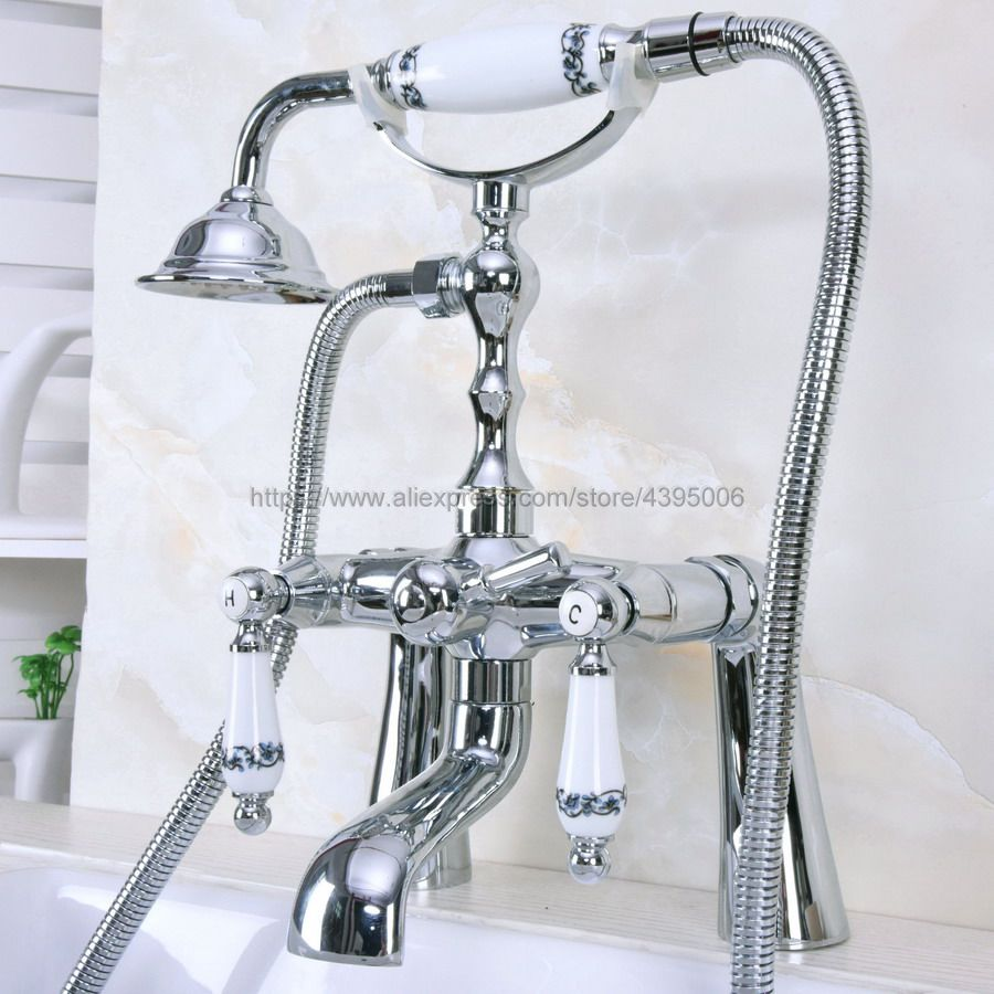 Polished Chrome Deck Mounted Telephone Style Bath Tub Faucet Mixer Tap With Handheld Spray Shower Bna114