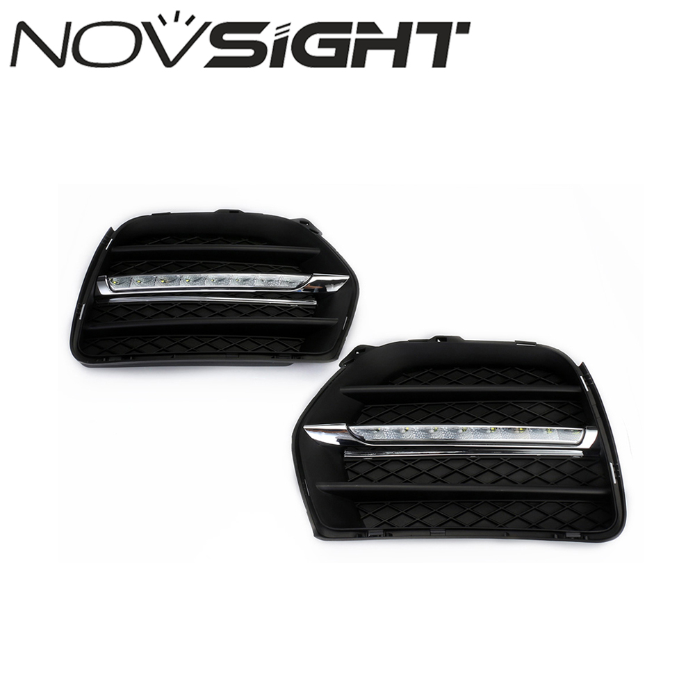 NOVSIGHT Car LED DRL Daytime Running light Bumper Fog Lamp Covers White Day Lights For BMW X6 E71 2010-2012 high quality h3 led 20w led projector high power white car auto drl daytime running lights headlight fog lamp bulb dc12v