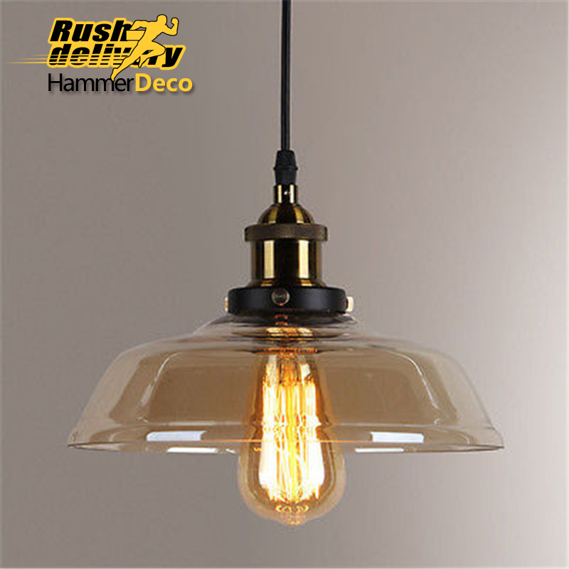American Industrial Pendant Lamp Vintage Glass Pendant Lights Hanging Lights Bar Cafe Lamps Fixtures Edison E27 220/110V Bulb vintage edison chandelier rusty lampshade american industrial retro iron pendant lights cafe bar clothing store ceiling lamp