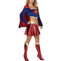 VASHEJIANG Sexy Superman Costume Women Amazing Supergirl Clothing Fantasias Feminina Cosplay Women Halloween Super Hero Costume