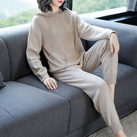 Spring autumn sweat tracksuit for women solid hoodies harem pants two piece set