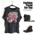 New T Shirt Women Sexy Hollow tassels Print Punk Tee Shirt Femme Woman Tops 2017 Fashion short Sleeve Femme Camisetas Feminina