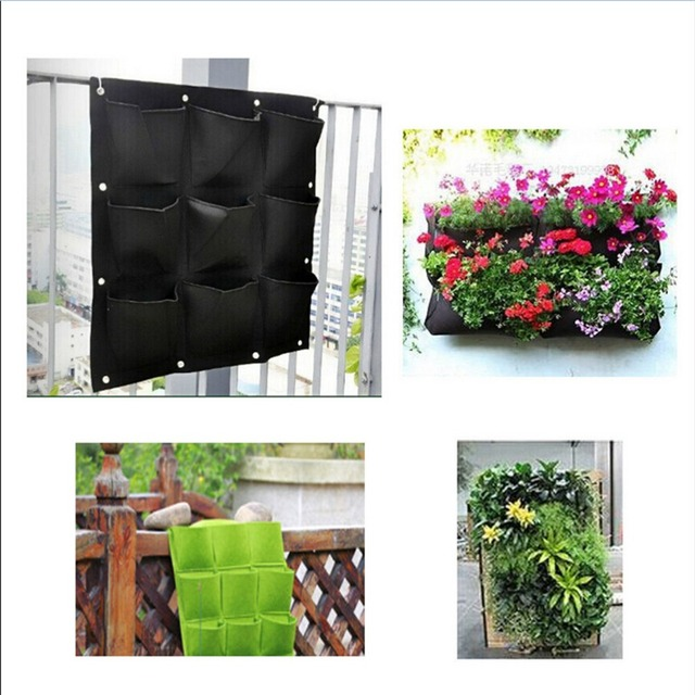 Outdoor Wall Hanging Planters Brand indoor outdoor wall hanging planter vertical felt garden plant brand indoor outdoor wall hanging planter vertical felt garden plant grow container bags 9 pocket green workwithnaturefo