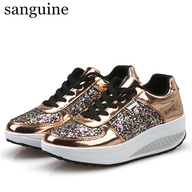 Women Shoes Sneakers Fashion Chunky Sneakers Running Casual Sport Shoes Increase Pu Material Breathable