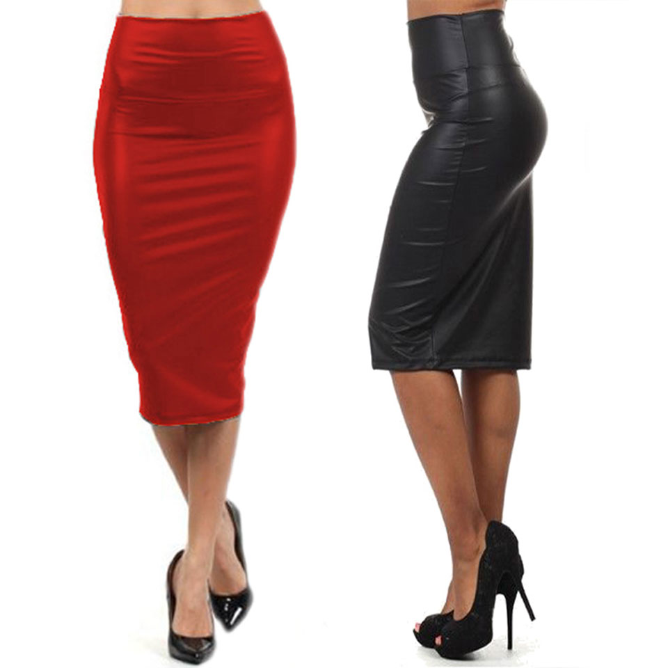 Faux leather knee length pencil skirt – Fashion clothes in USA ...