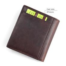 TAUREN Men Wallets Vintage Crazy Horse Genuine Leather Zipper Wallet Card Holder Coin Pocket Men's Purse Male Carteira