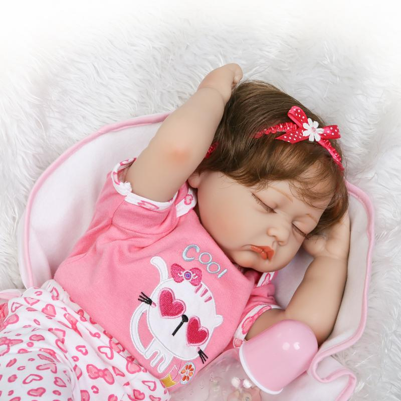55cm Silicone Reborn Baby Doll Toys Lifelike 22inch Pink Princess Sleeping Newborn Girl Babies Doll Birthday Gift Girls Brinqued handmade 22 inch newborn baby girl doll lifelike reborn silicone baby dolls wearing pink dress kids birthday xmas gift