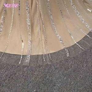 Image 5 - فساتين YQLNNE للسهرات بكريستال الشمبانيا فساتين طويلة للمناسبات المسائية حورية البحر