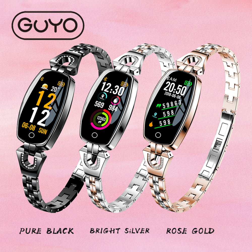 GUYO Smart Watch Fashion Lady Heart Rate Blood Pressure SmartWatch Pedometer Waterproof Fitness Watch Activity Tracker