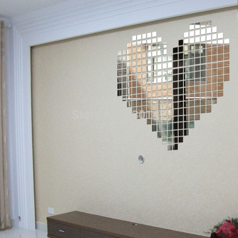 Buy hot sale 300pcs lot 2x2cm mirror wall stickers acrylic 3d diy mural sticker for Lots specchio
