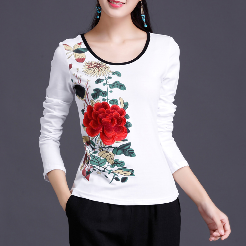95% Cotton Ethnic Embroidery Flower T Shirt Women Plus Size Spring Tops Autumn Long Sleeve Bottoming Tees O Neck Ladies Clothes