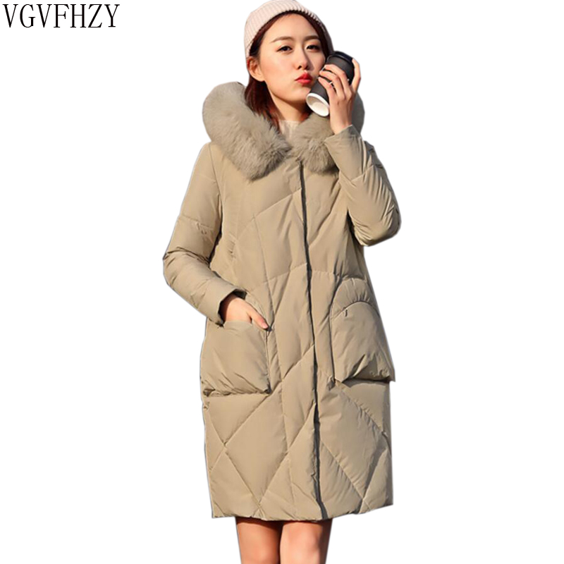 Plus size 90% white duck   Down   Jacket Female Fox fur collar Hooded Women   Down   Jackets 2018 New Woman Thick warm Long   Down     Coat