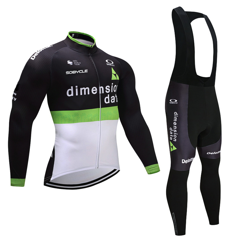 TEAM DATA Black cycling jersey pants set Ropa Ciclismo Summer long sleeve cycling wear mens pro Bicycling Maillot Culotte tops