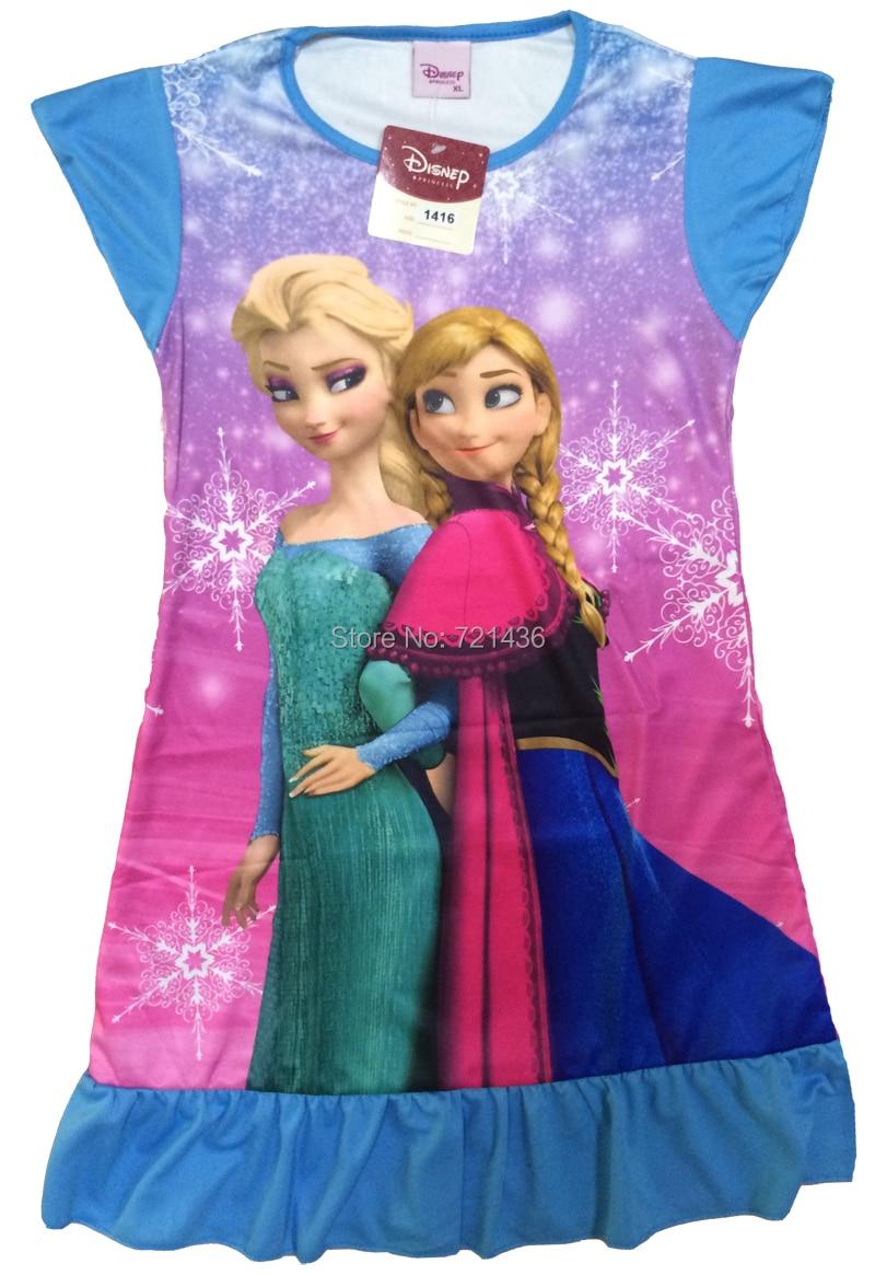 Frozen Anna Elsa pajamas Summer Nightgowns Girl print Cartoon ...