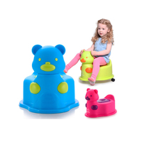 Hot Sale Colorful Cartoon Kawaii Bear Multifunctional Baby Potty Kids Toilet Chair With Wheel Portable Potty