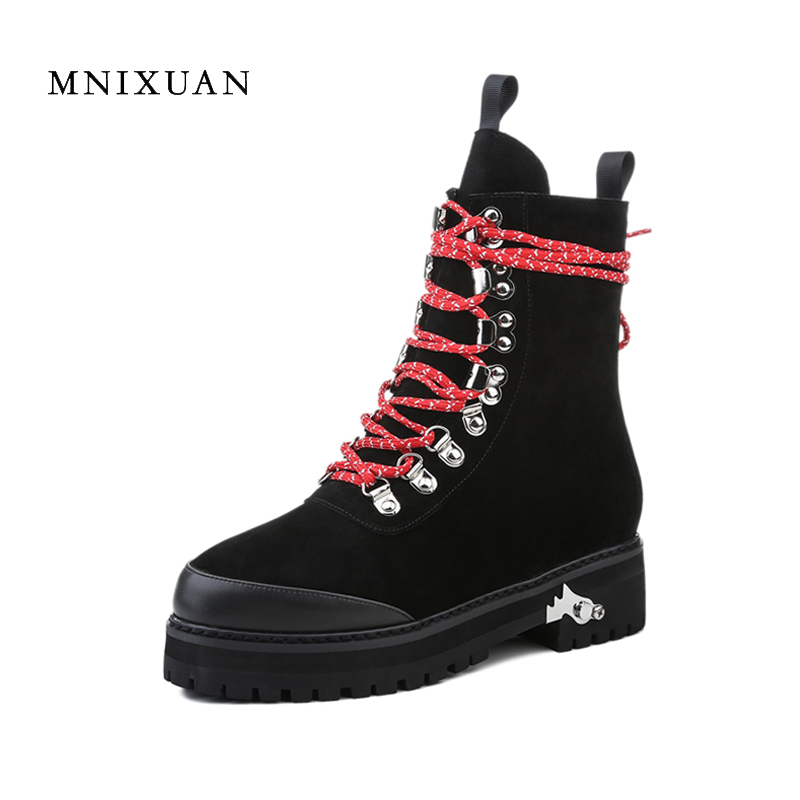 Genuine leather women boots motorcycle 2017 winter lace up ladies shoes platform medium thick heels ankle martin boots big size9 kibbu lace up high heels women punk style ankle boots thick bottom platform shoes european motorcycle leather boots 6 colors