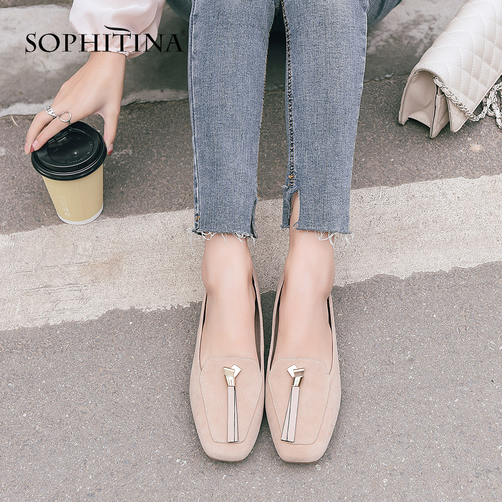 SOPHITINA Comfortable Loafers Flats Solid Spring Fashion Fringe Casual Shoes Handmade Kid Suede Square Toe Women