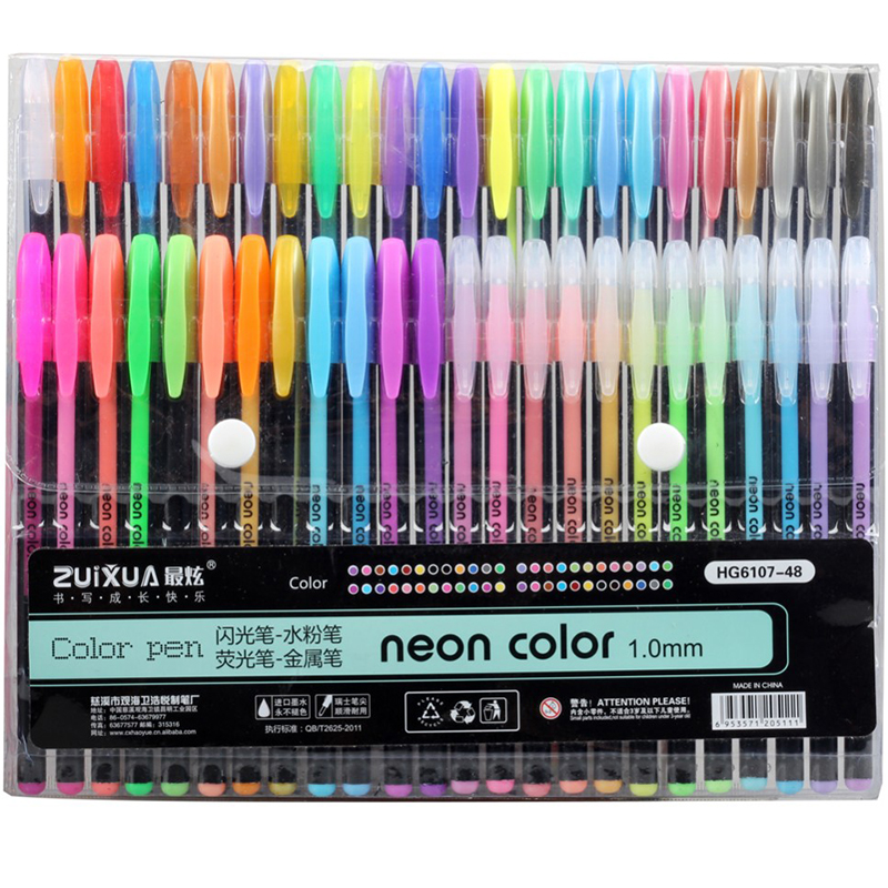 48 Colors Sketch Neon Pen Highlighter Fluorescent Marker Painting Drawing Stationery Line Pen Kawaii Liner Drawing Crafts Set