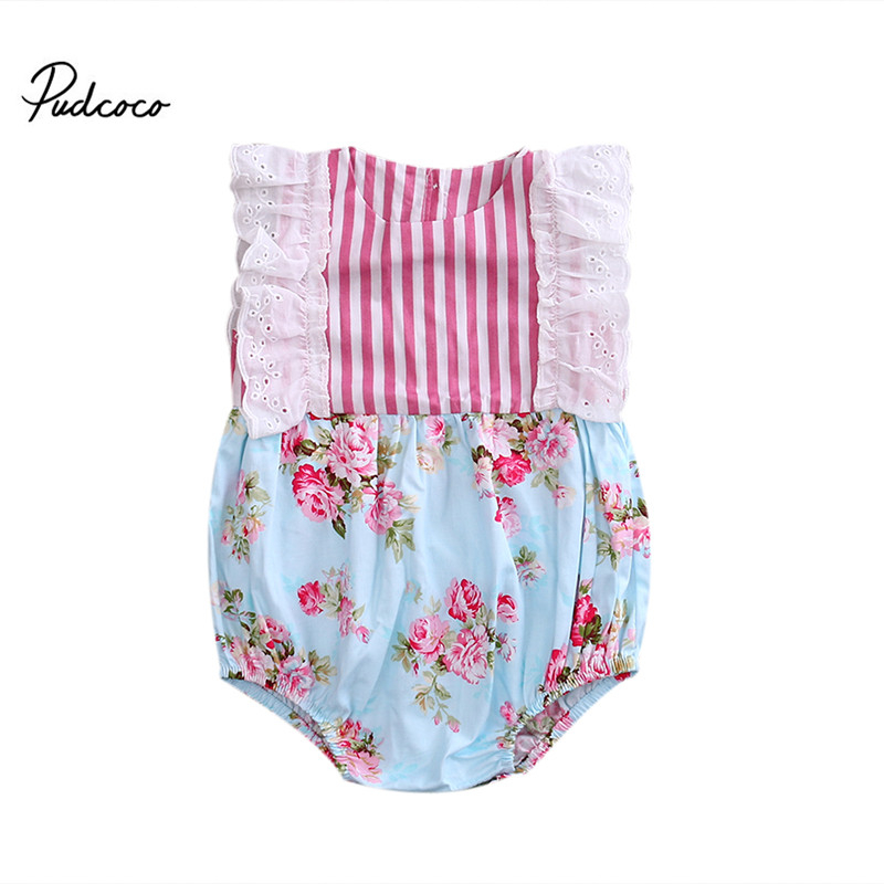 HOT Sale Cute Newborn Kid Baby Jumpsuit Sleeveless Ruffled Lace Round Collar Striped Romper 0-24M