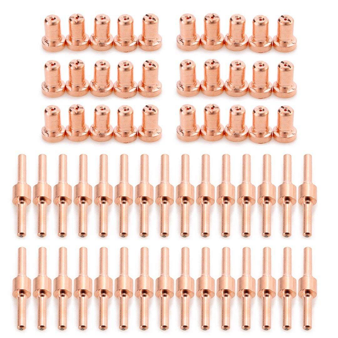 Image 4 - Hot 60pcs Red Copper Extended Long Plasma Cutter Tip Electrodes/Nozzles Kit Mayitr Consumable For PT31 LG40 40A Cutting WelderWelding Nozzles   -