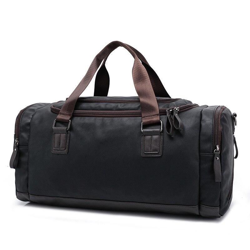 Toppkvalité Casual Travel Duffel Bag PU Läder Män Handväskor Stor - Väskor för bagage och resor - Foto 2