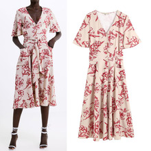 купить new long summer shirt dress women floral print pocket party dressvestidos women casual dresses robe femme vestido with belt по цене 1237.56 рублей