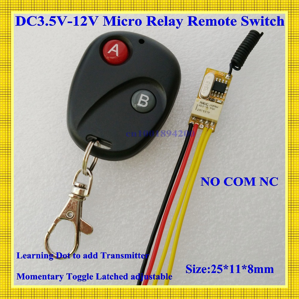 DC3V 3.6V 3.7V 5V 6V 7.4V 9V 12V Mini Relay Wireless Switch Remote Control Power LED Lamp Controller Micro Receiver Transmitter access control power remote switch 3s 8s delay off mini wireless switch mos no noise rf micro receiver console 433 5v 9v 12v 6v