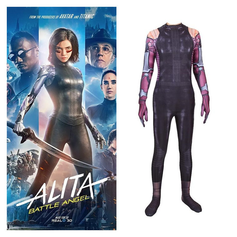 Anime 2019 Movie Alita: Battle Angel Alita Cosplay Costume Girls Women Full Body Zentai Spandex Jumpsuits Bodysuit Suits New