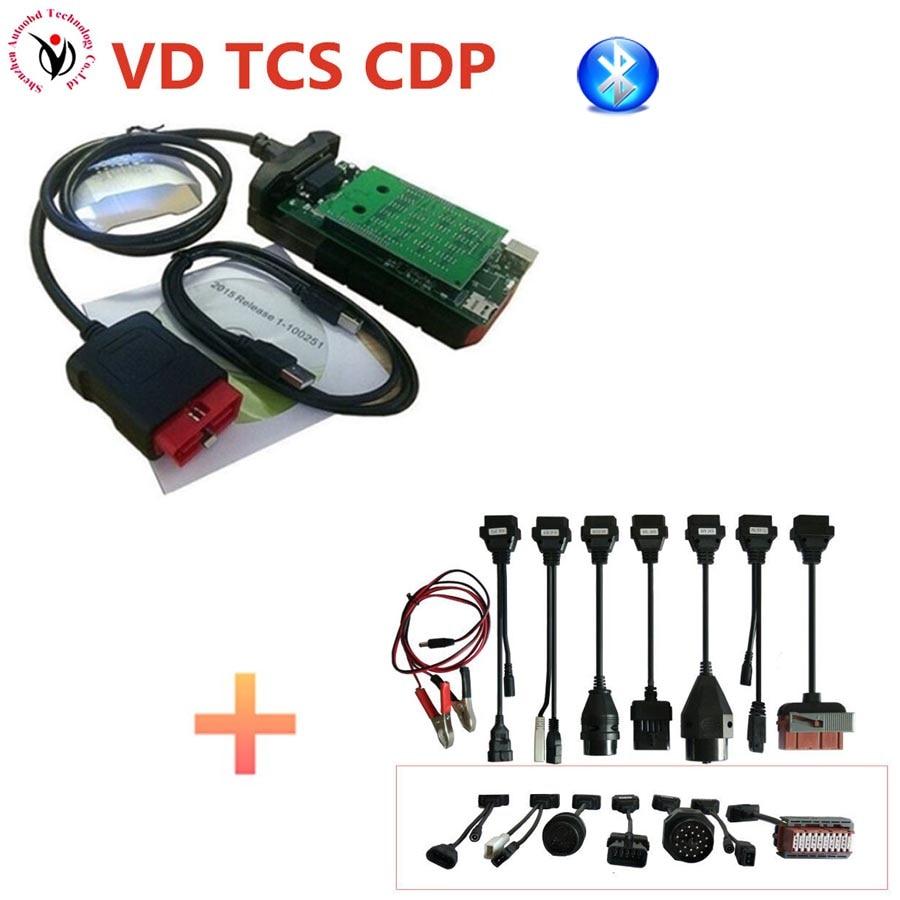 New vci (2015.3 R3 Keygen /2016R0 ) VD TCS CDP PRO with Bluetooth obd2 OBDII OBD II Auto Car scanner + Full set 8PCS car cables