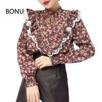 BONU Vintage Printing Long Sleeve Women Shirt High Quality Beading Pearl Shirts Female Spring Chiffon Stand